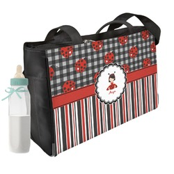 Ladybugs & Stripes Diaper Bag (Personalized)