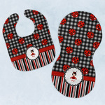 Ladybugs & Stripes Baby Bib & Burp Set w/ Name or Text