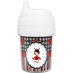 Ladybugs & Stripes Baby Sippy Cup (Personalized)