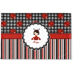 Ladybugs & Stripes Woven Mat (Personalized)