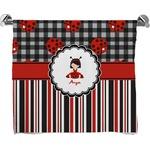Ladybugs & Stripes Full Print Bath Towel (Personalized)