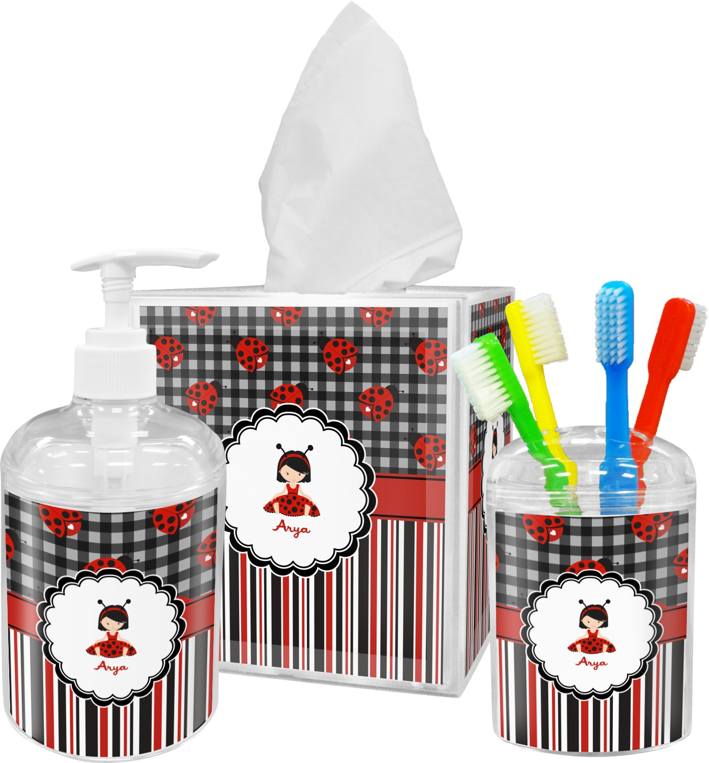 Ladybugs & Stripes Bathroom Accessories Set (Personalized ...