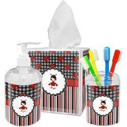 Ladybugs & Stripes Bathroom Accessories Set (Personalized)