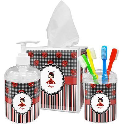 Ladybugs & Stripes Bathroom Accessories Set (Personalized)