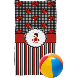 Ladybugs & Stripes Beach Towel (Personalized)