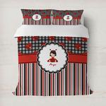 Ladybugs & Stripes Duvet Cover (Personalized)