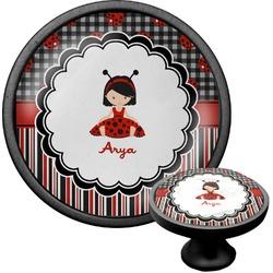 Ladybugs & Stripes Cabinet Knob (Black) (Personalized)