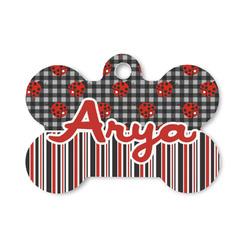 Ladybugs & Stripes Bone Shaped Dog Tag (Personalized)
