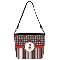 Ladybugs & Stripes Bucket Bag w/ Genuine Leather Trim (Personalized)