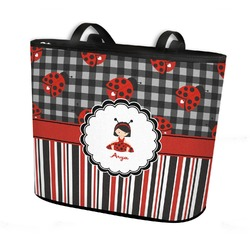 Ladybugs & Stripes Bucket Tote w/ Genuine Leather Trim (Personalized)
