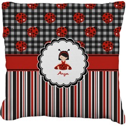 """Ladybugs & Stripes Faux-Linen Throw Pillow 16"""" (Personalized)"""