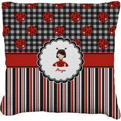 """Ladybugs & Stripes Faux-Linen Throw Pillow 26"""" (Personalized)"""