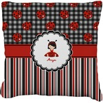 Ladybugs & Stripes Faux-Linen Throw Pillow (Personalized)