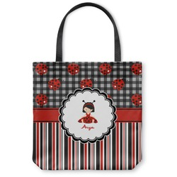 Ladybugs & Stripes Canvas Tote Bag (Personalized)