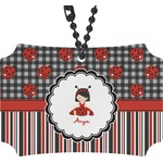 Ladybugs & Stripes Rear View Mirror Ornament (Personalized)