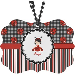 Ladybugs & Stripes Rear View Mirror Charm (Personalized)