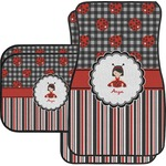 Ladybugs & Stripes Car Floor Mats Set - 2 Front & 2 Back (Personalized)