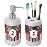 Ladybugs & Stripes Bathroom Accessories Set (Ceramic) (Personalized)
