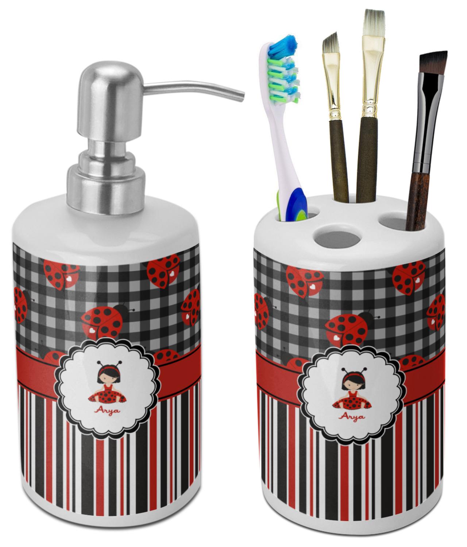 Ladybugs /& Stripes Bathroom Accessories Set Personalized
