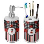 Ladybugs & Stripes Bathroom Accessories Set (Ceramic) (Personalized)