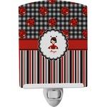 Ladybugs & Stripes Ceramic Night Light (Personalized)