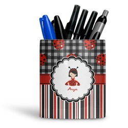 Ladybugs & Stripes Ceramic Pen Holder
