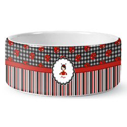 Ladybugs & Stripes Ceramic Pet Bowl (Personalized)