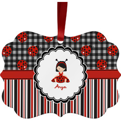 Ladybugs & Stripes Ornament (Personalized)