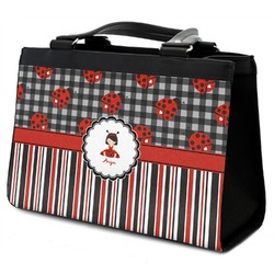 Ladybugs & Stripes Classic Tote Purse w/ Leather Trim (Personalized)