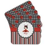 Ladybugs & Stripes Cork Coaster - Set of 4 w/ Name or Text