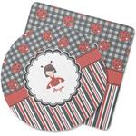 Ladybugs & Stripes Rubber Backed Coaster (Personalized)