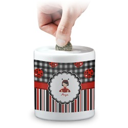 Ladybugs & Stripes Coin Bank (Personalized)
