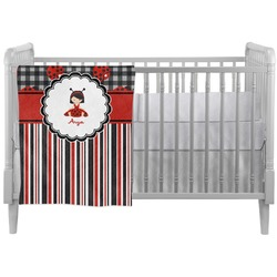 Ladybugs & Stripes Crib Comforter / Quilt (Personalized)