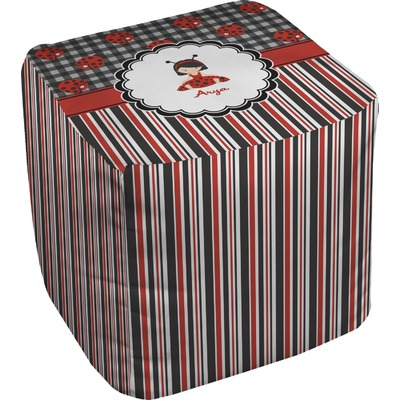 Ladybugs & Stripes Cube Pouf Ottoman (Personalized)