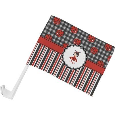 Ladybugs & Stripes Car Flag (Personalized)