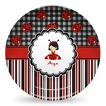 Ladybugs & Stripes Microwave Safe Plastic Plate - Composite Polymer (Personalized)
