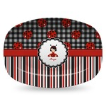 Ladybugs & Stripes Plastic Platter - Microwave & Oven Safe Composite Polymer (Personalized)