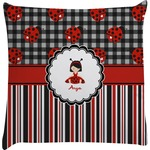 Ladybugs & Stripes Decorative Pillow Case (Personalized)