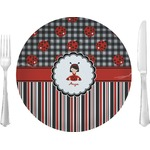 "Ladybugs & Stripes Glass Lunch / Dinner Plates 10"" - Single or Set (Personalized)"
