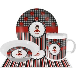 Ladybugs & Stripes Dinner Set - 4 Pc (Personalized)