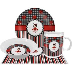 Ladybugs & Stripes Dinner Set - 4 Pc (Personalized)