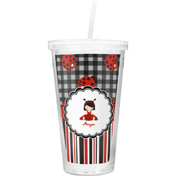 Ladybugs & Stripes Double Wall Tumbler with Straw (Personalized)