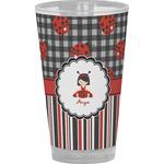 Ladybugs & Stripes Drinking / Pint Glass (Personalized)
