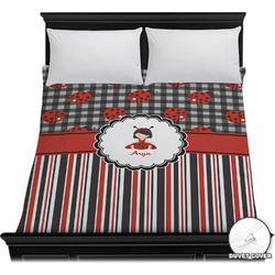 Ladybugs & Stripes Duvet Cover (Personalized)