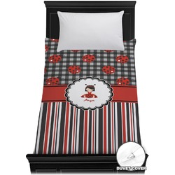 Ladybugs & Stripes Duvet Cover - Twin (Personalized)