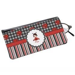 Ladybugs & Stripes Genuine Leather Eyeglass Case (Personalized)