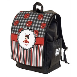 Ladybugs & Stripes Backpack w/ Front Flap  (Personalized)