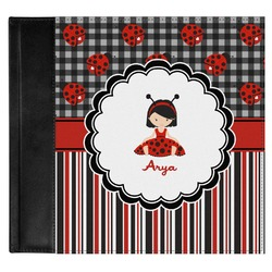 Ladybugs & Stripes Genuine Leather Baby Memory Book (Personalized)