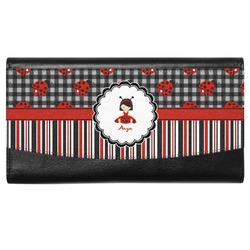 Ladybugs & Stripes Genuine Leather Ladies Wallet (Personalized)