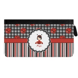 Ladybugs & Stripes Genuine Leather Ladies Zippered Wallet (Personalized)